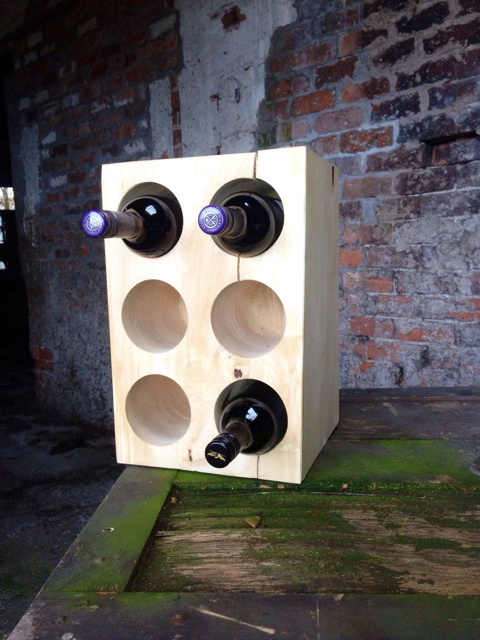 Solid Wood 6 Bottle Wine Rack Drunken Trees